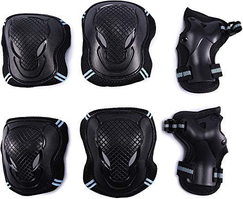 G-raphy Protektoren Sets für Kinder Erwachsene Knieschoner Ellenbogenschützer Handgelenkschoner Set Schwarz für Radfahren Roller Skating Inline-Skate (Blau, M)