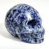 Anlingem 1pc 2' Crystal Skull Natural Quartz Skull Gemstone Carved Skull Stone Pocket Statue Healing Energy Reiki Gemstone Collectible Figurine (Blue Sodalite Skull) AL-BSS