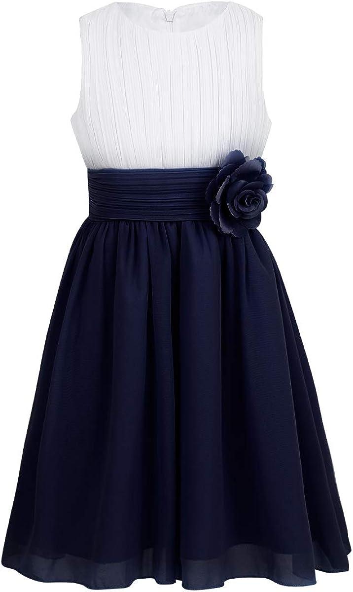 iEFiEL Kids Big Girls Sleeveless Chiffon Pleated Wedding Bridesmaid Pageant Party Flower Girl Dress