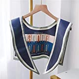 ZAMi Chal decoración Collar Verano sección Delgada Oficina pequeño Hombro Cuello Bufanda Aire Acondicionado habitación Exterior Hombros Falsos-Azul Marino