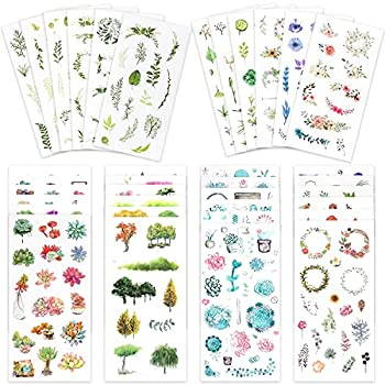 Knaid Watercolor Stickers Set  Assorted 600+ Pieces 36 Sheets  - Decorative Sticker for Scrapbooking Kid DIY Arts Crafts Album Bullet Journaling Junk Journal Planners Calendars and Notebook