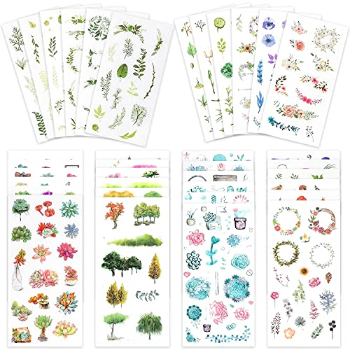 Knaid Watercolor Stickers Set (Assorted 600+ Pieces, 36 Sheets) - Decorative Sticker for Scrapbooking, Kid DIY Arts Crafts, Album, Bullet Journaling, Junk Journal, Planners, Calendars and Notebook