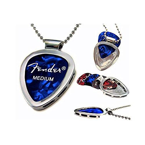 PickBay Guitar Pick Holder Pendant Necklace (CHROME Stainless Steel) & FENDER Guitar Pick Set (Authentic & Original)