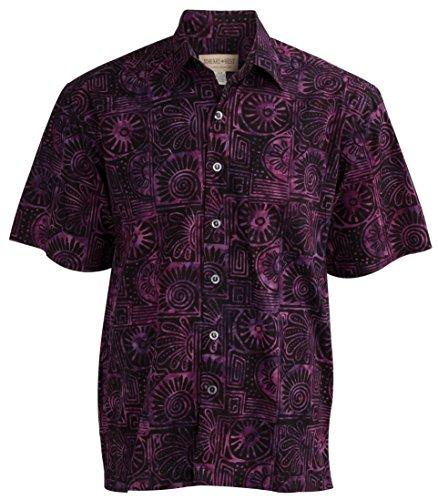 Indo Bay Tropical Hawaiian Cotton Batik Shirt (3XLT, Purple)