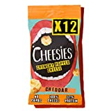 Cheesies - Snack de Queso Crujiente Cheesies, Cheddar. Sin Gluten, Ceto, Sin Carbohidratos, Alto en Proteínas, Vegetariano. 12 Bolsas de 20g.