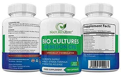Natures Zest 60 Billion CFU Bio Cultures with Prebiotics 180 Capsules Highest Strength 9 Strain Ultra Formula for Adults (Men/Women) Food Supplement - 6 Months' Supply