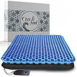 Gel Seat Cushion For Long Sitting - Gel Cushions For Pressure Sores Relief - Double Thick Gel Seat Cushion For Car With Breathable Nonslip Cover - Gel Chair Cushion Perfect For Wheelchair Office Chair