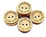 mackur 100Knöpfe aus Holz handgefertigt handgefertigt mit Love Holz Button Runde Form Feine Holz...