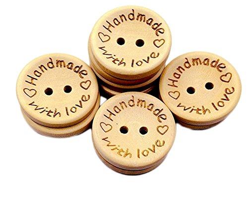 Lumanuby 100 Stück knöpfen Holz Material Button Laser gravierte Liebes-Herz-Muster und Wort with Love Dekorativ Knopf Durchmesser 1.5cm Geeignet für DIY Nähen, Scrapbooking und andere Handwerk
