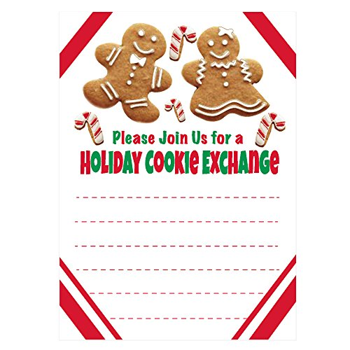 Holiday Cookie Exchange Invitations - Christmas Cookie Swap Party Invites - Gingerbread and Candy Cane Design (20 Count with Envelopes)