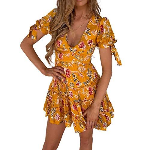 KINGVON Moda Mujeres Floral Print Deep V-cuello Mini vestido de manga abullonada Volantes Corto Una Línea de Sundress Señoras Verano Casaul Ropa Plus Tamaño