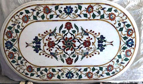 Mesa auxiliar de mármol de 45,7 x 91,7 cm, diseño floral, color blanco con arte antiguo indio