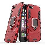 Compatible con iPhone 7, iPhone 8 Funda, Anillo Metálico Sujeción Soporte Antichoque Caja (Funciona con el Montaje de Coche Magnético) Doble Capa Case Carcasa para Apple iPhone7, iPhone8 (Rojo)