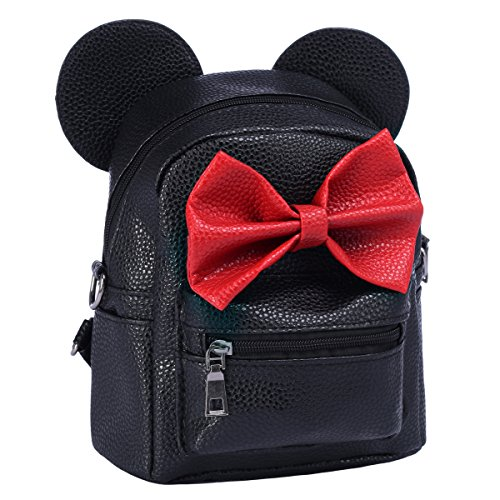 Women Girls Cartoon PU Leather Mouse Ear Bow Backpack Shoulder School Mini Bag Rucksack Black&Red