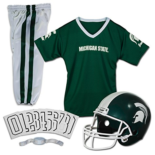 Franklin Sports Michigan State Spartans Kids College Football Uniform Set - Youth NCAA Uniform Set - Includes Jersey, Helmet, Pants - Youth Small