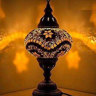 Lámpara de mesa de escritorio de estilo marroquí turco, multicolor, base de bronce, globo grande de luz única (estrella marrón)