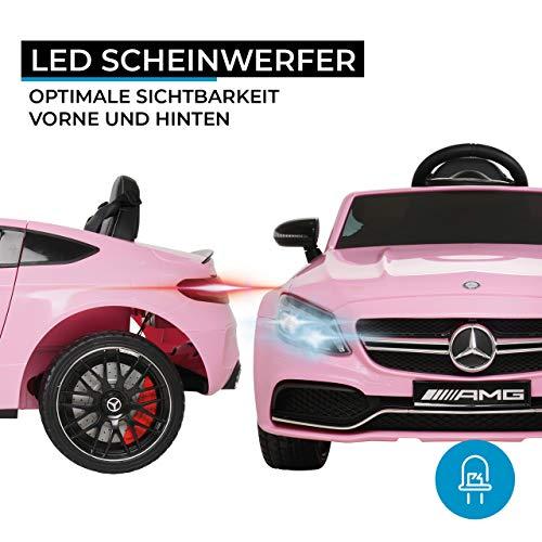 Actionbikes Motors Spielzeug Elektroauto Mercedes Benz C63 - Lizenziert - Ledersitz - Rc Fernbedienung - Elektro Auto für Kinder ab 3 Jahre - Kinderauto (Pink)
