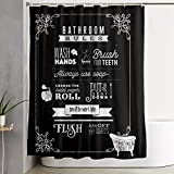 MMHOME Shower Curtains Bathroom Rules Black Quick Dry Bath Curtain Liner Set Premium Washable Home Decor Fabric Farmhouse Bathroom Window Curtains Wet-Dry Waterproof Cloth with 12 Hooks, 72 × 72 in