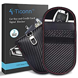 TICONN Faraday Car RFID Signal Blocking Anti-Theft Pouch, Best Faraday Car Key Signal Blocker, car security, vehicle security, keyless car theft, car relay theft, Faraday pouches, Faraday boxes, Faraday cage