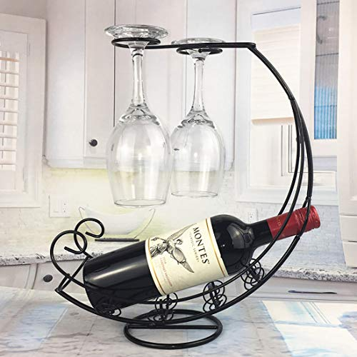 XGQ Creative European Metal Retro Pirate Ship Wine Rack Hanging Wine Glass Holder Bar Stand Holder Wine Rack for Single Wine Bottle (Black) (Color : Black)