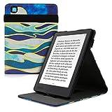 kwmobile Carcasa Compatible con Kobo Aura H2O Edition 2 - Funda para e-Book de Cuero sintético - Olas nocturnas Azul Oscuro/Coral/Dorado