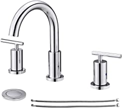 NEWATER 2-Handle 8 inch Widespread Three Hole Bathroom Sink Faucet with Pop Up Drain & Supply Lines Basin Faucet Mixer Tap...