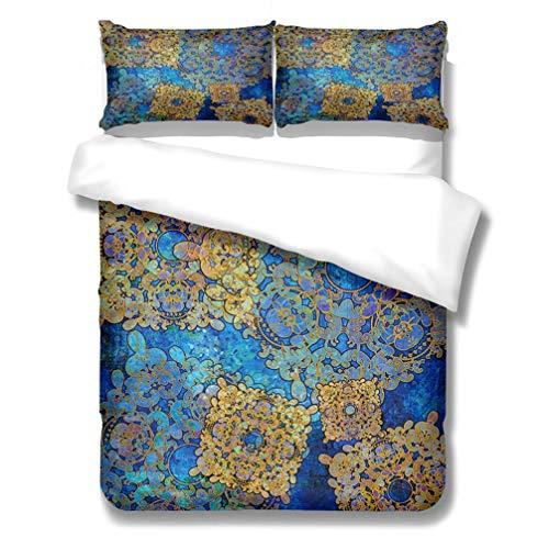 WENYA Indian Boho Mandala Vintage Retro Pattern Bedding Set Blue Purple Black Gold Navy Duvet Cover and Pillowcase Bohemia Microfiber Girl (Style 4,Super king 220x260 cm)