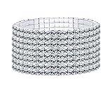 Finrezio Strass Armband Für Frauen Hochzeit Armband Glänzender Kristall 1-8 Reihe