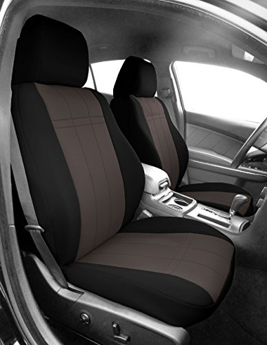 Front Sport Buckets Seats, CalTrend Neoprene Seat Covers for 2012-2015 Toyota Tacoma Charcoal Insert...