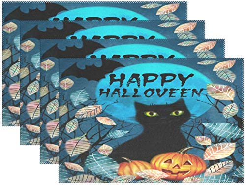 HEOH Placemats 12 x 18 inch,set of 6,Happy Halloween Black Cat Leaves Full Moon Bat Table Mat Polyester Table for Kitchen Dining Room
