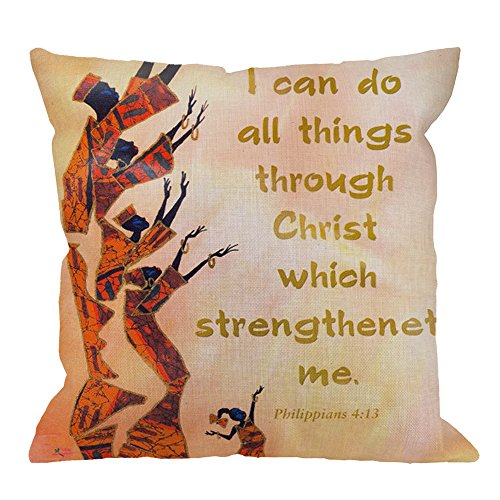HGOD DESIGNS African Culture Pillow Case,I Can Do All Things Through Christ Who Strengthens Me Cotton Linen Cushion Cover Square Standard Home Decorative for Men/Women 18x18 inch Yellow Red
