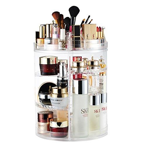 Organisateur de Maquillage, Bijoux Ajustable Rotatifs à 360 Degrés et Support D'écran Cosmétique, 8 Couches de Rangement - Crystal Clear