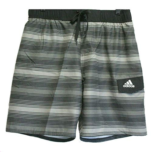 adidas Men's Quick Dry Mesh Swim Trunks (Energy Stripe Charcoal, Large)
