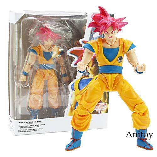Yvonnezhang SHF SHFiguarts Dragon Ball Super Saiyan Dios Hijo Goku Rojo Cabello Gokou Dragon-Ball PVC Figura de Acción de Colección Modelo de Juguete 15 cm