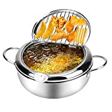 Tempura Deep Fryer, Japanese Style Stainless Steel Dip Fryer Pot Lager withThermometer Lid Oil Drip...