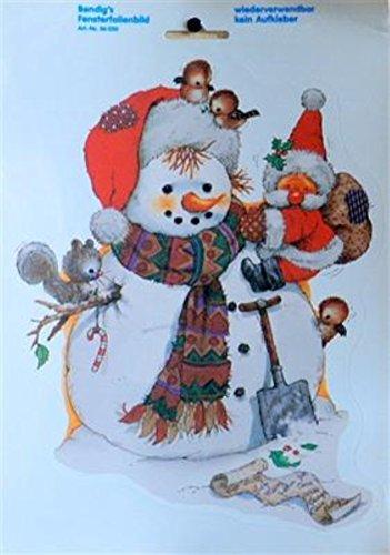 Fensterbild - Kleiner Weihnachtsmann klettert auf Schneemann 23,5 x 34 cm