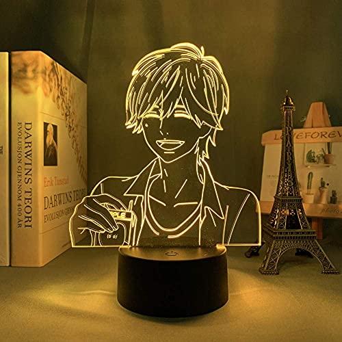 Luz de noche LED 3D anime naranja para dormitorio luz de noche interior regalo de cumpleaños para niños gadget de manga naranja luz de noche LED mesita de noche