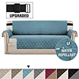 H.VERSAILTEX Reversible Sofa Slipcover Quilted Furniture Protector with 2' Elastic Strap Water Resistant Sofa Covers Seat Width Up to 66' Slipcover Protect from Dogs (Sofa, Smoke Blue/Beige)