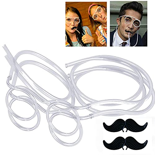 IXIGER Funny straw Glasses Flexible Drinking Straw Novelty Eyeglass Frame Bar Accessories for Birthdays,2PCS Transparent party straws,Bridal Showers,Party Supplies,Favors,Game Ideas