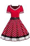 Babyonlinedress Femme Robe de Soirée Chic Jointif avec Ceinture Vintage rétro année 50s pin-up Rockabilly Swing à Pois Rouge 4XL