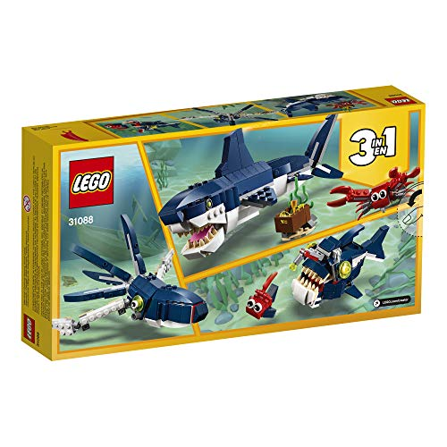 Product Image 8: LEGO Creator 3in1 Deep Sea Creatures 31088 Make a Shark, Squid, Angler Fish, and Crab with this Sea Animal Toy Building Kit (230 Pieces)