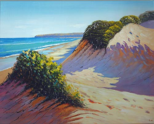FineDecoArt Collection 'Beach and Dunes' - Cuadro sobre lienzo pintado a mano 80 x 100 paisaje mar playa costera dunas moderno decoración de pared sala de estar dormitorio