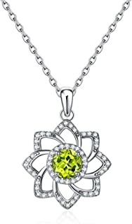 Pendant Necklaces 925 Sterling Silver Green Peridot Pendant Jewelry Necklaces For Women With 18 Inch Chain Necklaces for W...