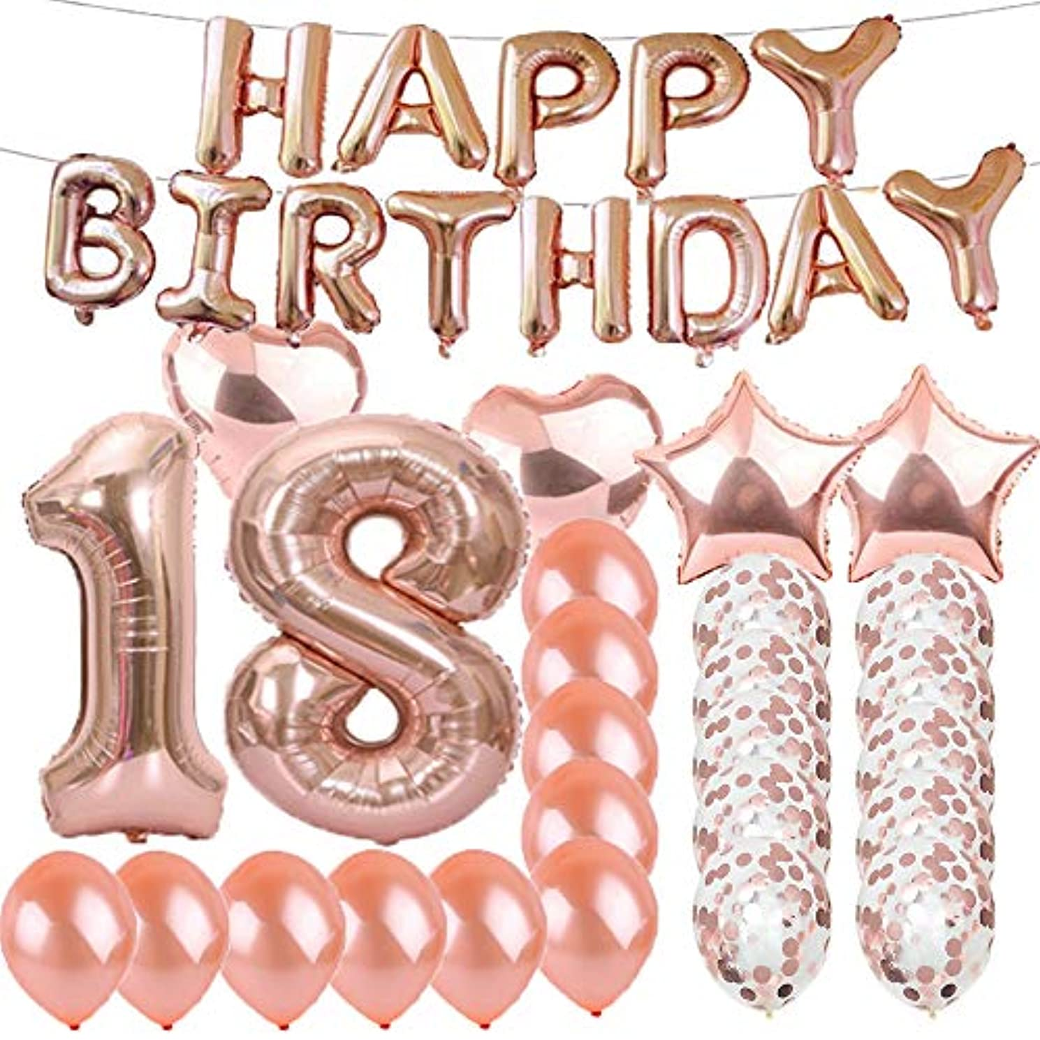 Sweet 18th Birthday Decorations Party Supplies,Rose Gold Number 18 Balloons,18th Foil Mylar Balloons Latex Balloon Decoration,Great 18th Birthday Gifts for Girls,Women,Men,Photo Props