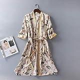 XFLOWR Conjunto de Pijamas Albornoz de Primavera para Hombre y Mujer Albornoz de baño de Tres Cuartos Mulation Bata de lencería Batas de Dormir Mujer M Beige