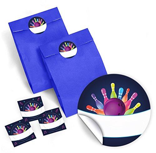 JuNa-Experten 12 Blaue Geschenktüten + 12 Aufkleber Bowling neon für Geschenke Mitgebseln beim Kindergeburtstag / Papierbeutel für Gastgeschenk mit Sticker
