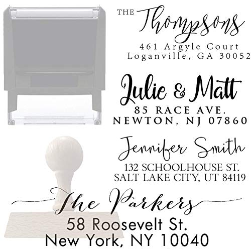 Calligraphy Return Address Stamp Custom Personalized Self Inking Return Address Stamp - Great Wedding, Housewarming or Client Gift Rubber or Wood Handle Business Christmas Stamper (Design 4)