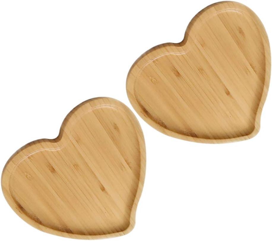 Hemoton Charlotte Mall 2 Pcs Eco Bamboo Factory outlet Snack Dish Shaped Heart Bread Tray