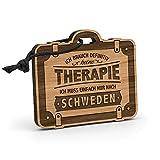 Fashionalarm Schlüsselanhänger Therapie - Schweden aus Holz mit Gravur   Geschenk-Idee Spruch Urlaub Reisen Winter-Sport Skandinavien Stockholm, Eiche