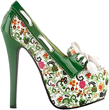 SHOW STORY Retro Floral Print Lace-Up Platform High Heel Stiletto Pumps,LF80872